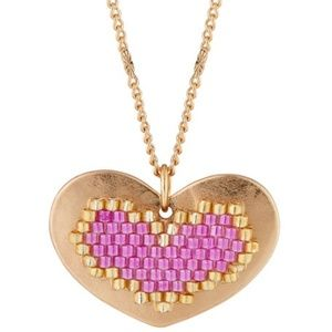 New Berry Jewelry Pink Long Heart Pendant Necklace